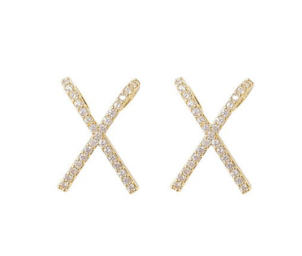 Pave Criss Cross Studs
