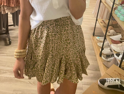blush leopard ruffle bottom skirt
