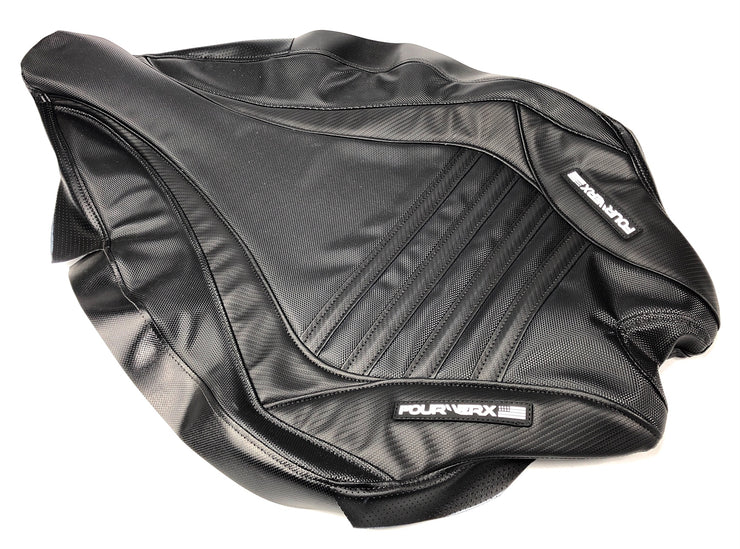 YAMAHA 09+ YFZ450R SEAT COVER - BLACK / BLACK BANDS