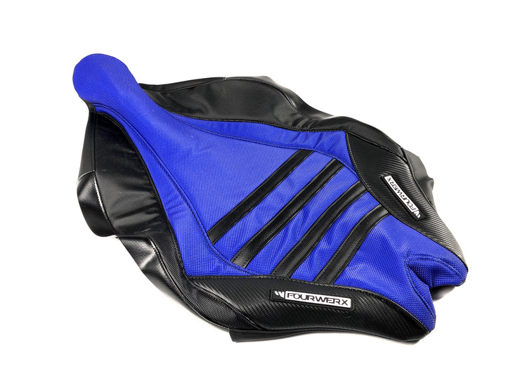 YAMAHA 09+ YFZ450R/X 'WAVE' SEAT COVER -BLUE TOP / BLK CARBON BANDS