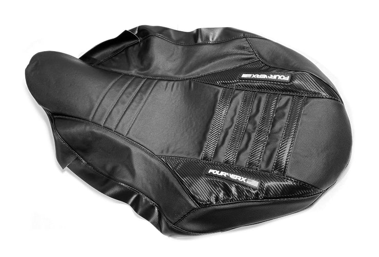 SUZUKI LTR450 SEAT COVER - BLACK GRIPPER W/ CARBON BLACK - BLACK CARBON BANDS