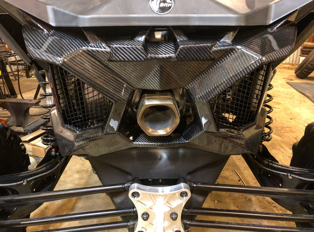 CAN AM MAVERICK X3 CARBON FIBER EXHAUST SURROUND / REAR SHROUD