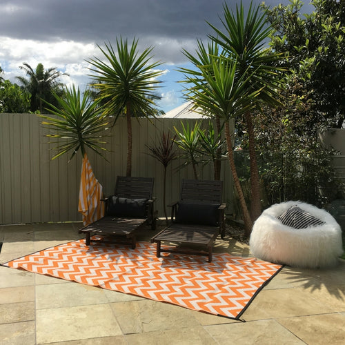 Outdoor Rug - Sparta Orange & White