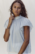 Carla Highneck Shirt Blue/White Stripe