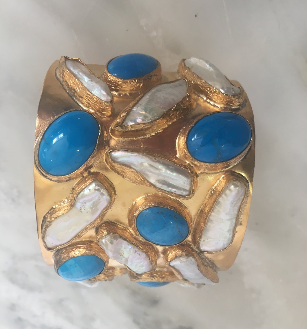 The Hammered Cuff - Turquoise & Freshwater Pearl