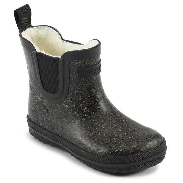 Bundgaard short rubber boot Black glitter med foer