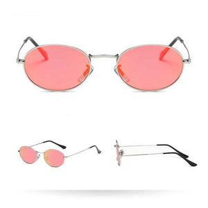 Women's Harrier Oval Vintage Metal Frame Glasses - Silver Frame Red Lens