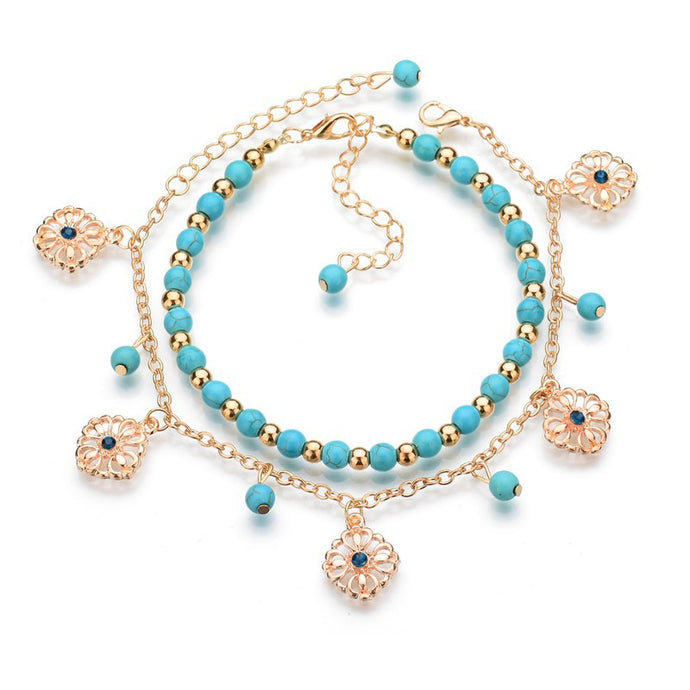 Women's Bohemian Turquoise Anklet Set