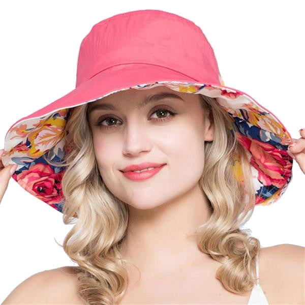 Women's Large Brim Printed Cotton Beach Hat - Pink