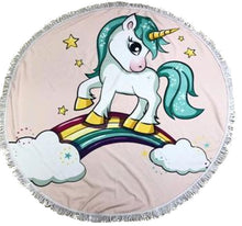 Rainbow Pony Kids Round Beach Towel - Pink Background