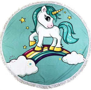 Rainbow Pony Blue background Round Beach Towel