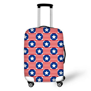 Blue Star on Red Stripe Suitcase Cover