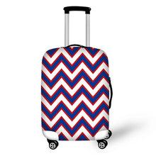 Blue and Red Chevron Suitcase Cover