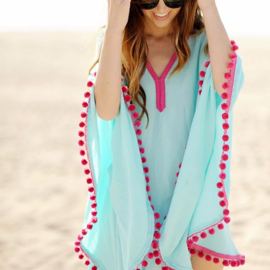 Women's Chiffon Bikini Cover Up With Tassels