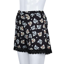 Women Kitty Print High Waist Summer Beach Shorts