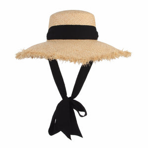 Handmade Straw Hat with black chiffon ribbon