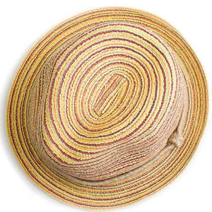 Kids Panama Striped Foldable Straw Hat - top view