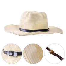 Men's Wide Brim Straw Beach Hat - Beige