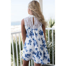 Women's Blue Floral Lace Summer Dress - back