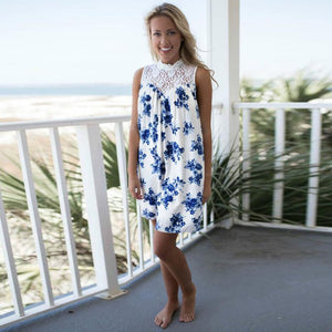Women's Blue Floral Lace Summer Dress - beach background