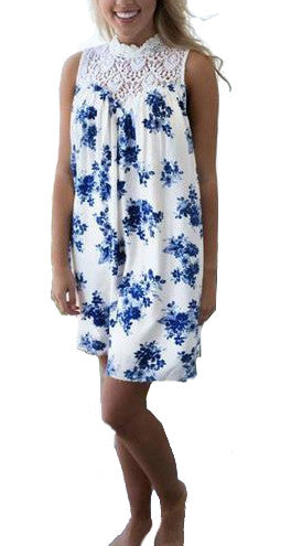Women's Blue Floral Lace Summer Dress - Front