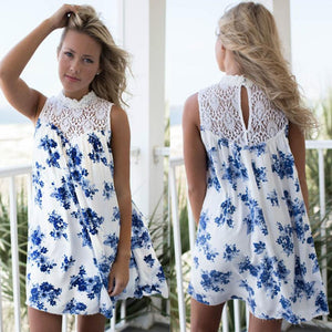 Women's Blue Floral Lace Summer Dress - Front & back