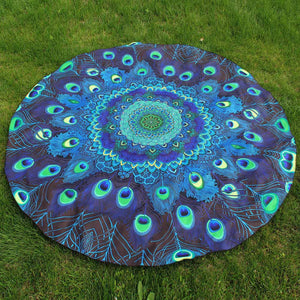 Peacock Print Round Beach Towel-Blue