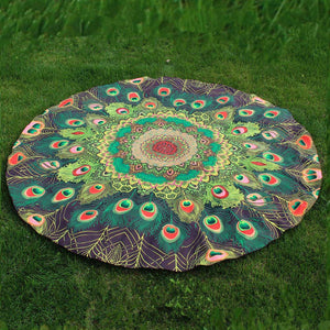 Peacock Print Round Beach Towel - Green