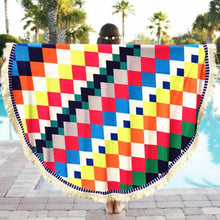 Round Beach Towel - Diamond Patterns