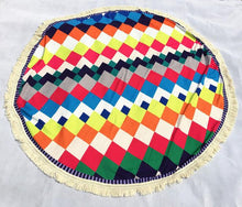 Multicolor Round Beach Towel - Diamond Patterns - tasseled