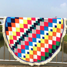 Multicolor Round Beach Towel - Diamond Patterns
