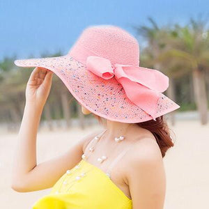 Pink Wide Brim Sun Hat