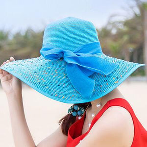 Blue Wide Brim Sun Hat