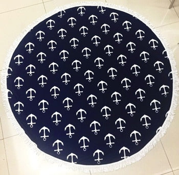Nautical Themed Navy Round Beach Towel