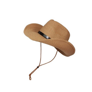 Men's Wide Brim Straw Beach Hat - Khaki