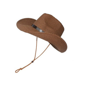 Men's Wide Brim Straw Beach Hat - Coffee