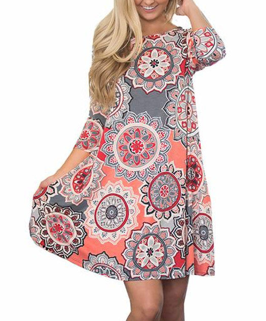 Women's vintage floral summer dress - pink
