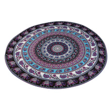 Elephants and Paisley Mandala Round Beach Towel