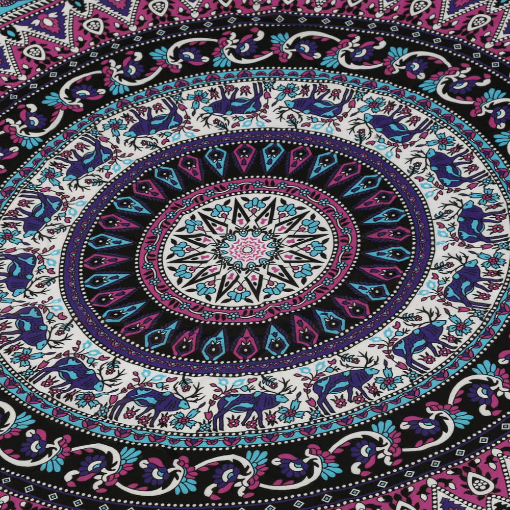 Elephants and Paisley Mandala Round Beach Towel - closeup