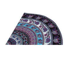 Elephants and Paisley Mandala Round Beach Towel - folded