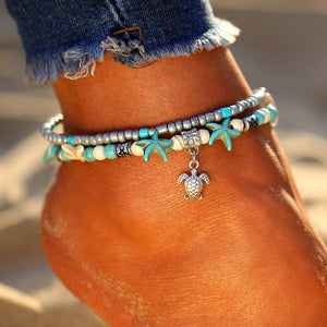 Bohemian Starfish Turtle Anklet - Beach Jewelry