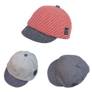 Baby Striped Cotton Cap - Red White Blue