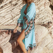 Women's Blue Chiffon Swim Suit Smock