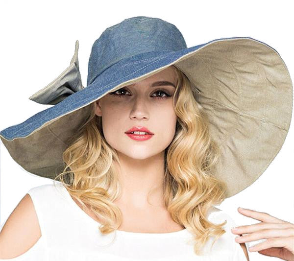 Women's Reversible Large Brim Summer Hat - Blue
