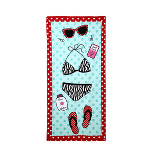 Blue beach stuff rectangular beach towel