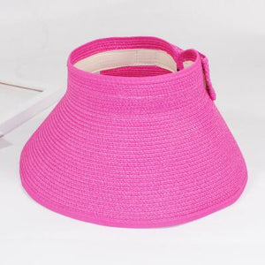 Foldable Wide Brim Beach Hat - Rose Red