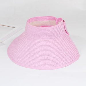 Foldable Wide Brim Beach Hat - Pink