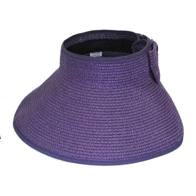 Foldable Wide Beach Brim Hat - Purple