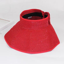 Foldable Wide Brim Beach Hat - Red