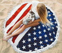 American Flag Round Beach Towel